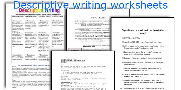 descriptive writing For higher english look at ways to improve the quality of your descriptive writing.