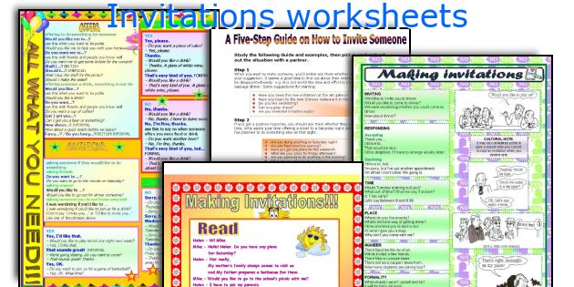 Invitations worksheets