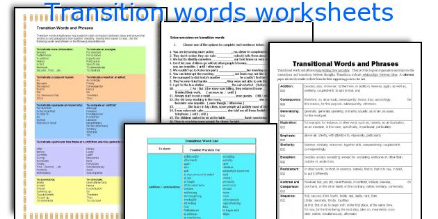 Transition words worksheets