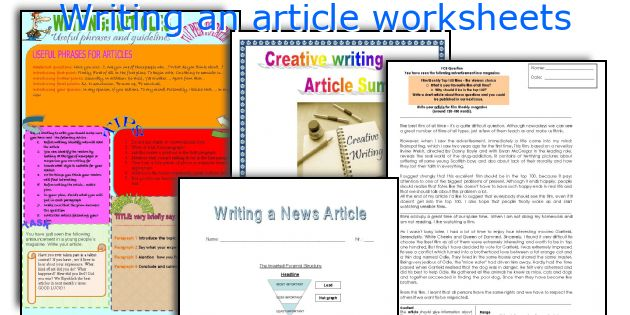 Writing an article worksheets