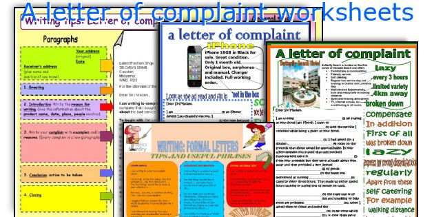 A letter of complaint worksheets spiritdancerdesigns Gallery