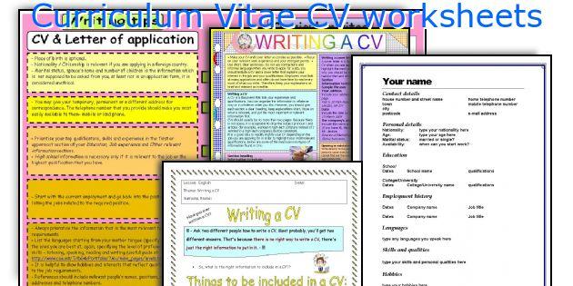 Curriculum Vitae CV worksheets