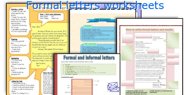 Formal Letters Worksheets