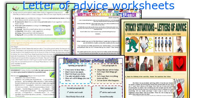 English Teaching Worksheets Letter Of Advice