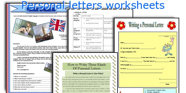 Personal letters worksheets