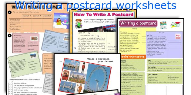 Writing a postcard worksheets