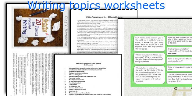 Writing topics worksheets